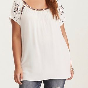 torrid Embroidered Crepe Top